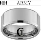 10mm Beveled Tungsten Carbide comfort fit black lasered Retired ARMY Lieutenant Design Ring.