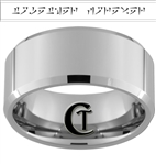 10mm Beveled Tungsten Carbide Skyrim Dragonborn- together forever Design
