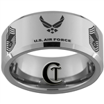 10mm Beveled Tungsten Carbide Air Force Chief Master Sergeant Ring Design.