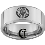10mm Beveled Tungsten Carbide Army Boy Scouts Ring Design.