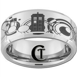 10mm Beveled Tungsten Carbide Doctor Who Tardis & Gallifreyan Design