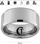 10mm Beveled Tungsten Carbide Fandoms with Zelda Song of Time on the Inside Design