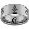 10mm Beveled Tungsten Carbide Satin Finish Masonic Design