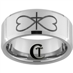 10mm Beveled Tungsten Carbide Infinity Heart Cross Design