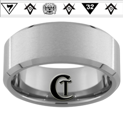 10mm Beveled Tungsten Carbide With Satin Finish Masonic Design