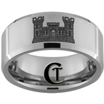 10mm Beveled Tungsten Carbide Satin Center Army Engineer Castle Design.
