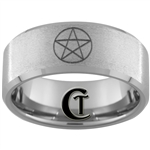 10mm Beveled Tungsten Carbide Stone Finish Wicca Star Design Ring.