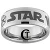 10mm Beveled Tungsten Carbide Stone Finish Star Wars Mandalorian Sith Design