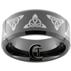 10mm Black Beveled Tungsten Carbide Celtic Triangle Design