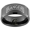 10mm Black Beveled Tungsten Carbide ARMY Ranger Design Ring.