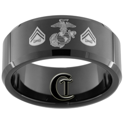 10mm Black Beveled Tungsten Carbide Marines  Eagle, Globe and Anchor Corporal Design Ring.