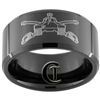 10mm Black Beveled Tungsten Carbide Army Armored Design