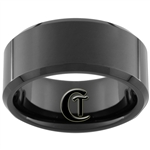 10mm Black Beveled Tungsten Carbide Polished Ring