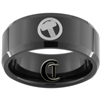10mm Black Beveled Tungsten Carbide Thor's Hammer Design