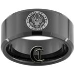 10mm Black Beveled Tungsten Carbide ARMY Crest Design