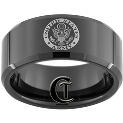 10mm Black Beveled Tungsten Carbide ARMY Crest Design.