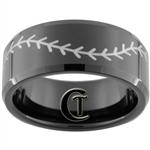 10mm Black Beveled Tungsten Carbide Baseball Stitch Design