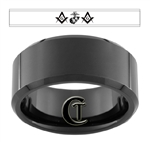 10mm Black Beveled Tungsten Carbide Marines Masonic Design