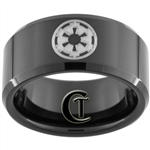 10mm Black Beveled Tungsten Carbide Star Wars Design