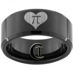 10mm Black Beveled Tungsten Carbide Lasered Heart Pi  Design