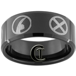 10mm Black Beveled Tungsten Carbide Wolverine X-Men Design