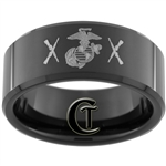 10mm Black Beveled Tungsten Carbide Marines Alliance Crossed Rifle Design.