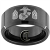 10mm Black Beveled Tungsten Carbide Marines Design