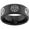 10mm Black Beveled Tungsten Carbide Avengers Design