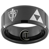 10mm Black Beveled Tungsten Carbide Zelda Triforce & CTR Shield Design