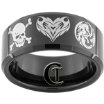 10mm Black Beveled Tungsten Carbide Skull and Cross Bones, Heart, Dragon Yin Yang Design