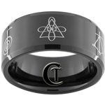 10mm Black Beveled Tungsten Carbide Reiki Master Chakra Design Ring.