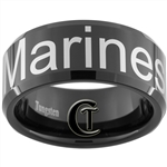 10mm Black Beveled Tungsten Carbide Marines Eagle Globe and Anchor & Marine's Text Design Ring.