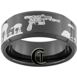 10mm Black Beveled Tungsten Carbide Star Wars Han's Blaster Hoth Battle Scene Design