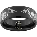 10mm Black Beveled Tungsten Carbide Dragons Connected Design