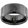 10mm Black Beveled Tungsten Carbide Aries Scorpio Design