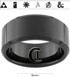 10mm Black Beveled Tungsten Carbide Fandoms with Zelda Song of Time on the Inside Design