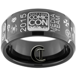 10mm Black Beveled Tungsten Carbide 2015 Salt Lake Comic Con Media Team Ring