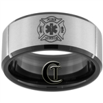 10mm Black Beveled Tungsten Carbide Satin Fire Medic Design