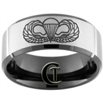 10mm Black Beveled Satin Finish Tungsten Carbide Army Airborne Design.