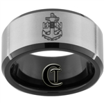 10mm Black Beveled Tungsten Carbide Satin Center U.S. NAVY Anchor Military Design.
