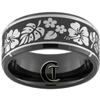 10mm Black Beveled Tungsten Carbide Satin Center Hawaiian Flowers Design