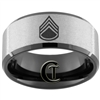 10mm Black Beveled Tungsten Carbide Stone Center Army Staff Sergeant Design