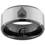 10mm Black Beveled Stone Finish Tungsten Carbide Army Staff Sergeant Design.
