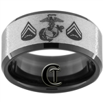 10mm Black Beveled Tungsten Carbide Stone Finished Marines Corporal Design.