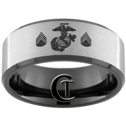 10mm Black Beveled Tungsten Carbide Stone Finished Marines Sergeant Ring Design.