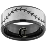 10mm Black Beveled Tungsten Carbide Stone Center Baseball Stich Design