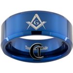 10mm Blue Beveled Tungsten Carbide Masonic Square and Compass Design