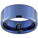 10mm Blue Beveled Tungsten Carbide Ring