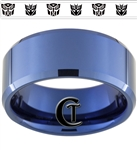 10mm Blue Beveled Tungsten Autobot Decepticon Design Ring.