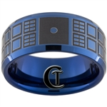10mm Blue Beveled Tungsten Carbide Doctor Who Tardis & Quote Design